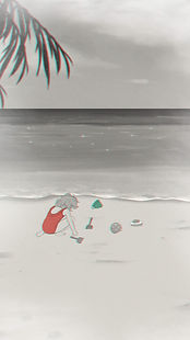 A girl in a swimsuit playing with toys on the beach.