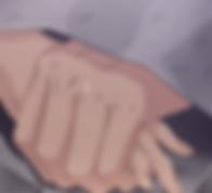 Holding hands under a blanket.