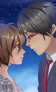 Shadowtime's MC and Daisuke looking at each other under a starry sky.