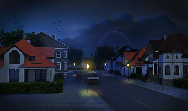 One of the backgrounds for Vampire Romance Story shows part of the town at night.