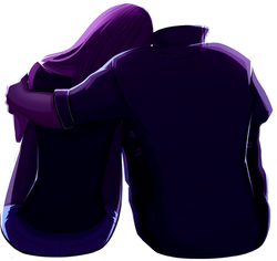 A couple hugging, without guy's head