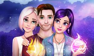 Juegos de amor y magia personajes: Raudo, Mia y Steph haciendo magia