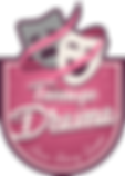 The PNG image of the logo of Teenage Drama Story Games consists of gray and white theater masks with a ribbon wrapped around them and letters reading the name of the game on a pink background.