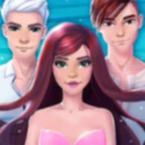 This is the icon of Mermaid Love Story Game, depicting the main character, who is a mermaid, and her two potential boyfriends.
