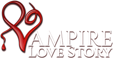 The PNG logo of Vampire Romance Love Story consists of the name of the game, with the first letter being a decorated V with a drop of blood.