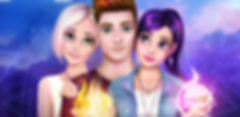 This is part of feature graphics for Wizard Love Story Games and it depicts the Main Character, who's holding a fireball in his hand, and his two potential girlfriends, Stephanie and Mia, who's holding the Crystal Ball in her hand.