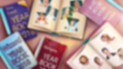 A feature graphic showing closed and open yearbooks with the pictures of characters of Love Story Games.