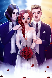 The MC in a wedding dress, admired by Jason and Duncan, who flank her.