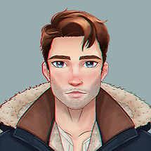 Ewan, a character in Amnesia Love Story, has brown hair and wears a jacket.
