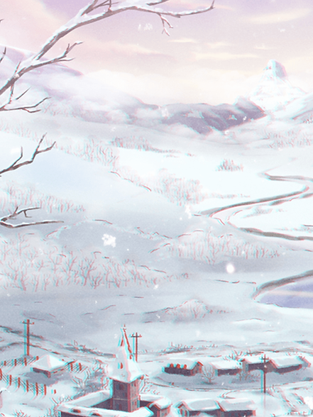 A drawn winter scenery of a river in a mountain village.