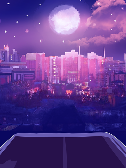 Drawn part of a city under the moonlight.