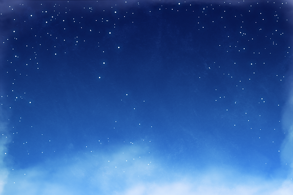 Drawn blue sky with stars