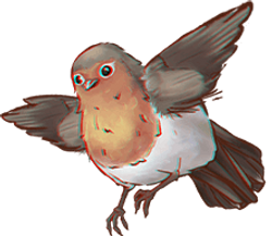 A drawing of a sparrow