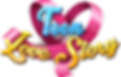 The PNG image of the logo of Teen Love Story Games consists of a pink ribbon shaped like a heart and blue and yellow letters reading the name of the game.