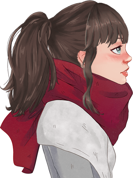 Main character with a ponytail