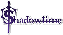 The PNG image of the logo of Anime Love Story Games (subtitled Shadowtime) consists of letters written in a purple font with white stroke, and a decorated purple sword placed vertically across the letter S.