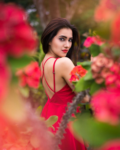 Red Dress and Red Flowers Portrait