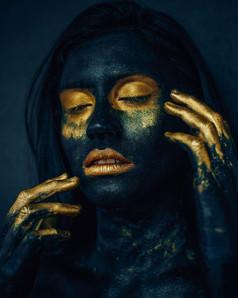 Black and Gold Paint Portrait