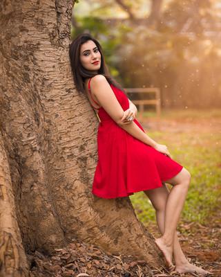 Red Mini Dress Park Portrait.jpg