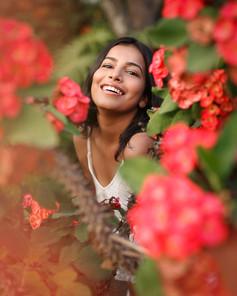 Red Flowers Happy Portrait