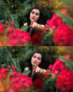 Sad Red Flower Portrait