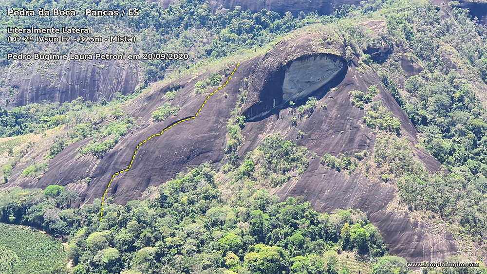 """Linha da via """"Literalmente Lateral"""" (D2 2º IVsup E2 - 325m - Mista), Pedra da Boca"""