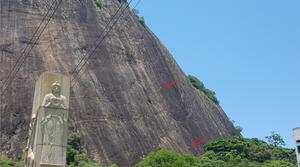 """Escaladores na manutenção da via """"Quarto Centenário"""", Babilônia / Urca"""
