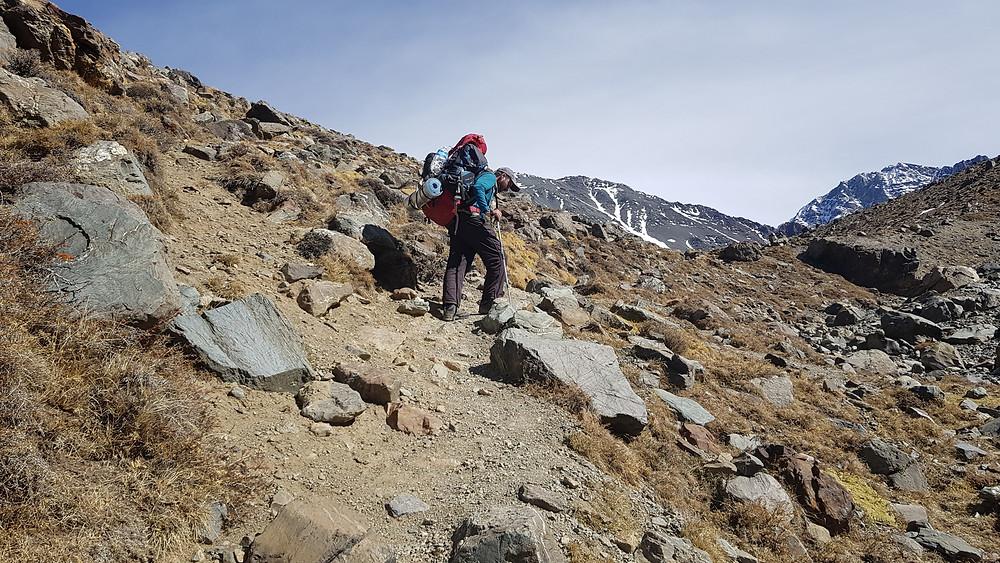 Pedro Bugim subindo para o acampamento de Piedra Grande (3.600m)