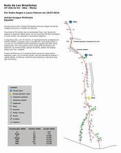"Croqui da ""Ruta de Los Brasileños"" (5 VIIb E2 D1 - 80m - Mista), no vulcão Guagua Pichincha"