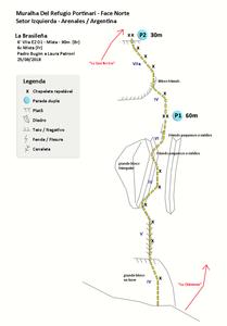 """Croqui da via """"La Brasileña"""" (6° VIIa E2 D1 – Mista – 90m)"""
