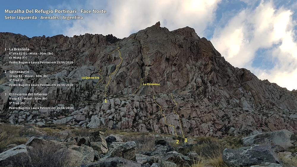"""Linha das vias """"La Brasileña"""" (6° VIIa E2 D1 – Mista – 90m), """"Spinosaurio"""" (IVsup E2 – Móvel – 50m) e """"El Invierno del Infierno"""" (Vsup E2 – Móvel – 60m)"""