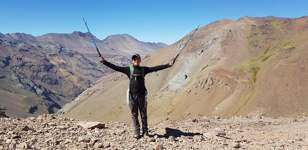 João Pedro no final da descida ao Valle Nevado, após 4 dias na montanha