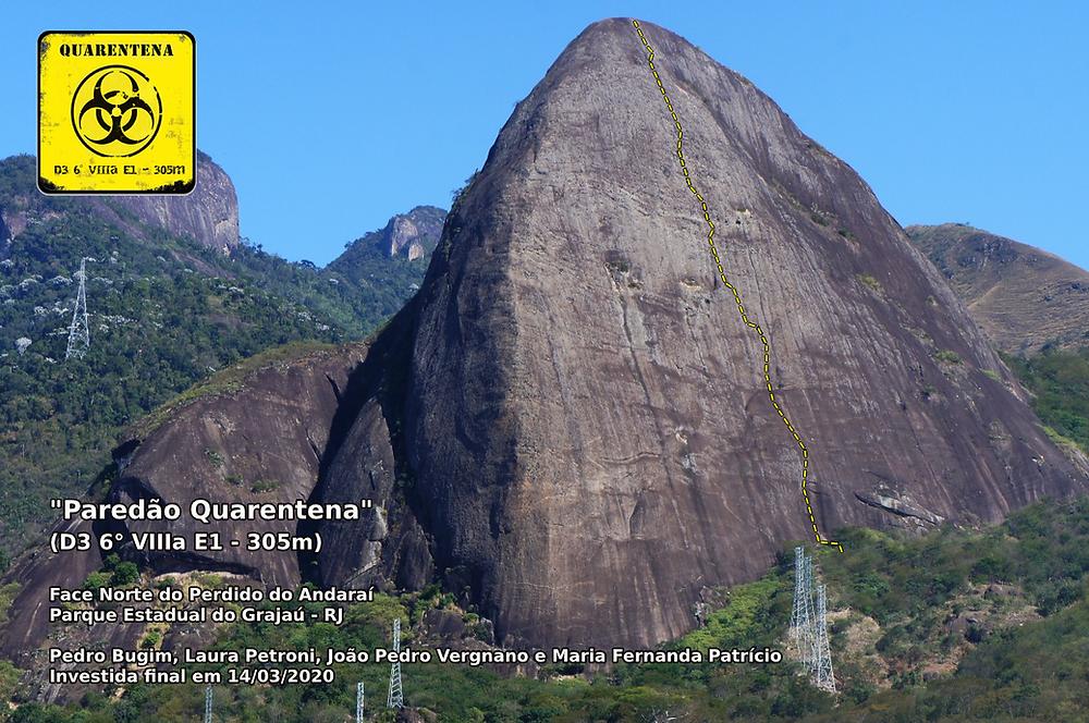 """Linha do """"Paredão Querentena"""" (D3 6º VIIIa E1 - 305m)"""