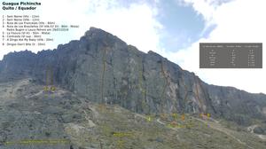 """Linha das vias na parede do vulcão Guagua Pichincha, com a """"Ruta de Los Brasileños"""" (5 VIIb E2 D1 - 80m - Mista) ao centro"""