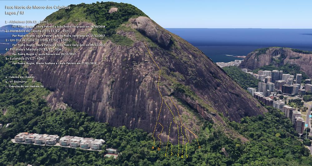 Linha das vias no início da Face Norte do Morro dos Cabritos / Lagoa