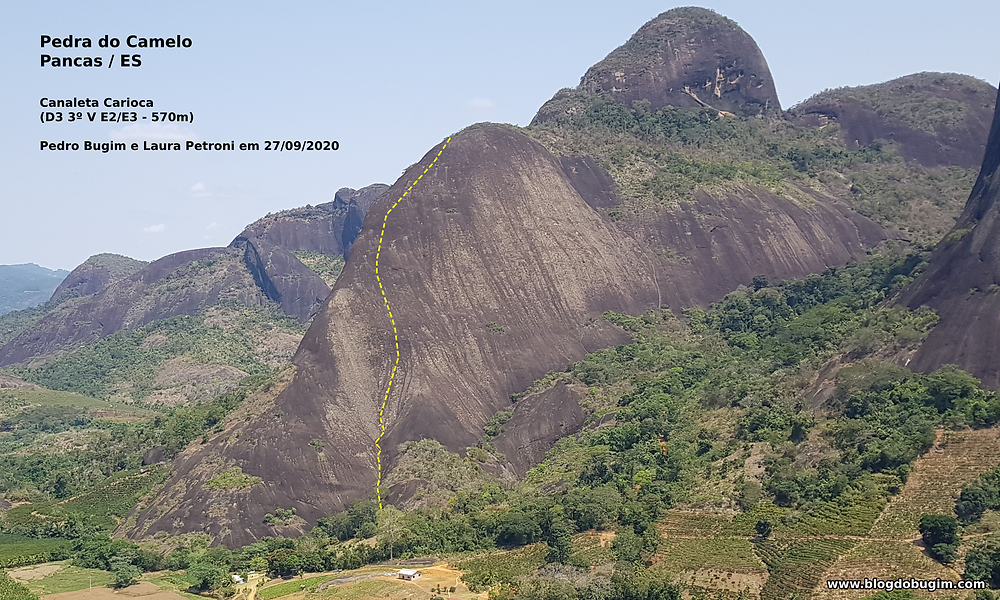 """Linha da """"Canaleta Carioca"""" (D3 3º V E2/E3 - 570m) - Pedra do Camelo - Pancas / ES"""