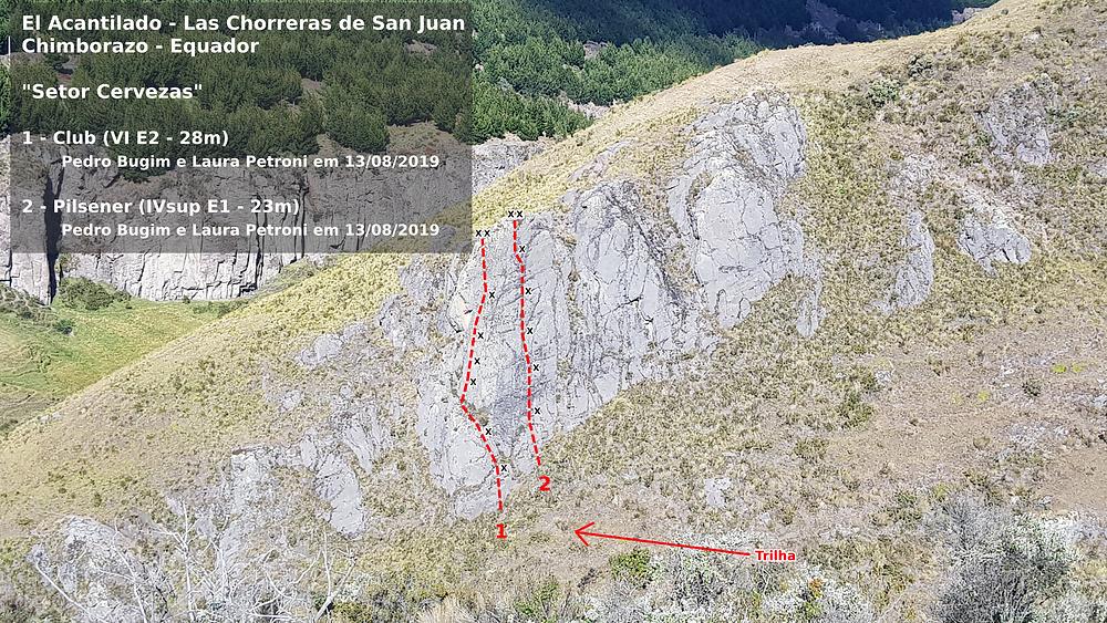 """Vias conquistadas em Las Chorreras de San Juan: """"Pilsener"""" (IVsup E2) e """"Club"""" (VI E2)"""