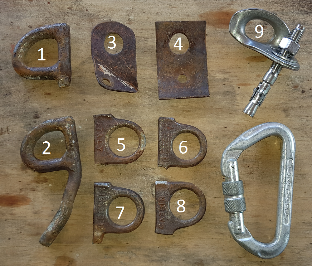 Os grampos de 3/8 (1 e 2), chapeletas caseiras (3 e 4) e stubais de 1/4 (5 a 8) retirados do artificial