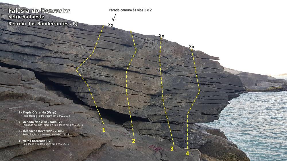Linha das vias da face Sudoeste da Falésia do Roncador