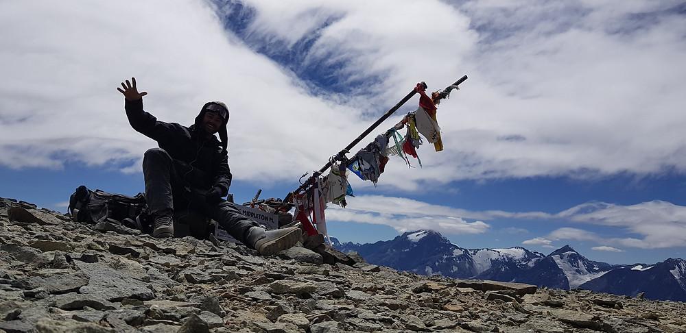 Pedro Bugim no cume do Cerro Plomo (5.434m)