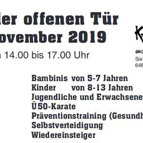 Tag der offenen Tür -  3. November 2019 von 14.00 bis 17.00 Uhr