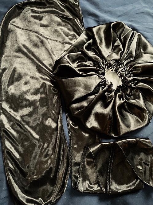 Black Satin Durag + Bonnet Set