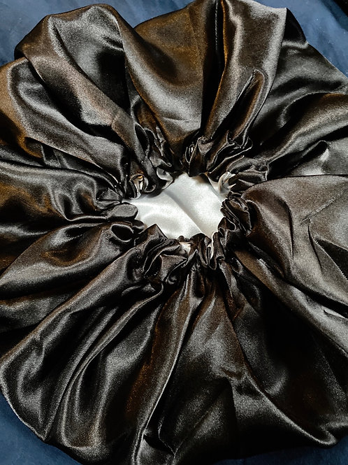 Black Satin Bonnet-Adjustable & Reversible