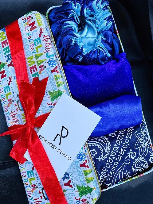 Holiday Blue Durag & Bonnet Set