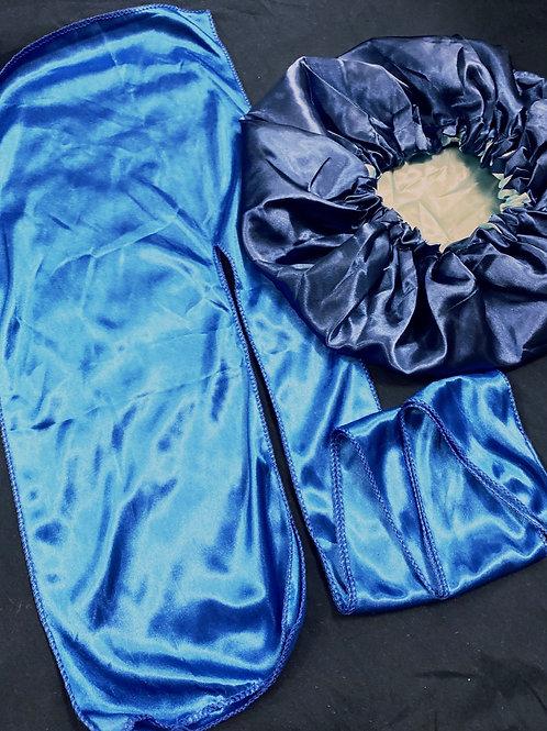 Blue Satin Durag + Bonnet Set
