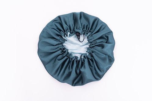 Green Silk Bonnet-Adjustable & Reversible