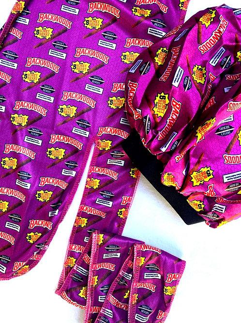 Purple BACKWOODS Durag & Bonnet Set