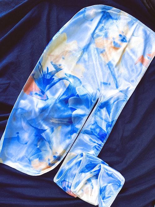 Light Blue Floral Durag