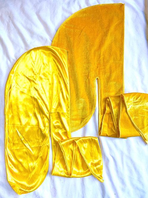 Yellow Satin & Velvet Set