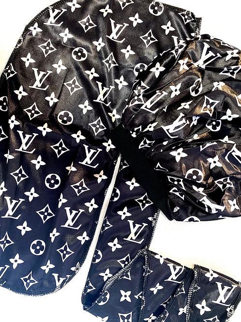 Black LV Durag & Bonnet
